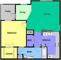 A1 - One Bedroom / One Bath - 750 Sq. Ft.*